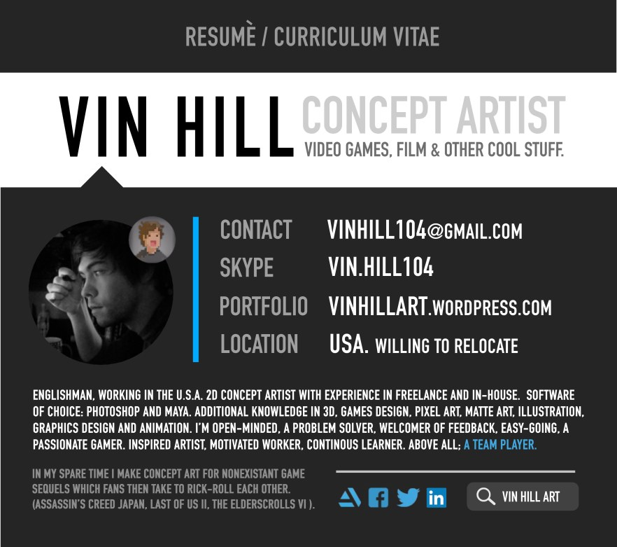 Resum Vin Hill Entertainment Design